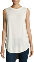 Haute Hippie Crewneck High-Low Tank, Swan/Black