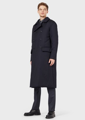 Giorgio Armani Double-Breasted Coat In Padded, Water-Repellent Wool