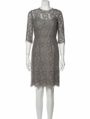 Dolce & Gabbana Lace Pattern Knee-Length Dress Grey