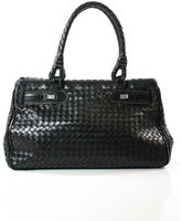 Bottega Veneta Black Leather Silver Tone Intreciato Satchel Handbag EVHB
