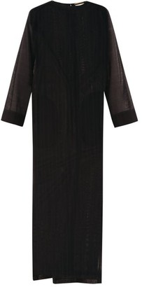 Saint Laurent Striped Wool-gauze Maxi Kaftan - Womens - Black
