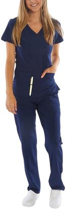 Green Town Scrubs Women's Scrubs Bottoms Indigo - Indigo Scrubs Stretch V-Neck Top & Pants - Women