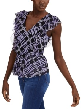 INC International Concepts Inc Petite Ruffled Tie-Front Top, Created for Macy's