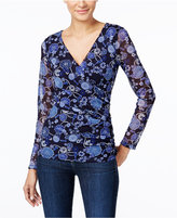 INC International Concepts Petite Printed Faux-Wrap Top, Only at Macy's