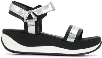 Pollini Two-Tone Platform Sole Sandals