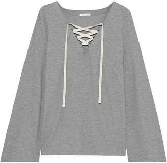 Skin Elyse Lace-up Waffle-knit Cotton-blend Pajama Top