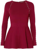 Lela Rose Faux Pearl-embellished Stretch-knit Top - Burgundy