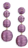 Kenneth Jay Lane Three Thread Ball Drop Earrings/Purple