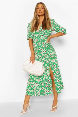boohoo Daisy Print V Neck Split Front Midaxi Dress