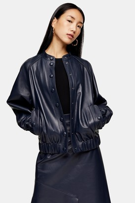 Topshop Womens **Navy Leather Bomber Jacket By Navy Blue