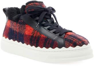 Chloé Lauren Plaid Wool Sneakers