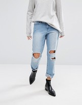 Vero Moda Distressed Mom Jeans With Extreme Rips