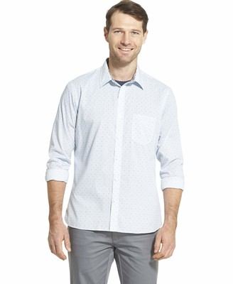 Van Heusen Men's Big Never Tuck Long Sleeve Button Down Print Shirt