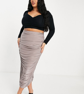 Club L London Plus ruched midi skirt in mauve