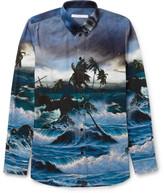 Givenchy Button-Down Collar Printed Cotton Shirt