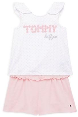 Tommy Hilfiger Little Girl's 2-Piece Ruffle Tank Shorts Set