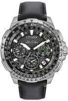 Citizen Eco-Drive Promaster Navihawk Mens World Time GPS Black Leather Strap Watch CC9030-00E