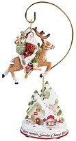 Fitz & Floyd Damask Holiday Here Comes Santa Claus 2017 Ornament with Stand