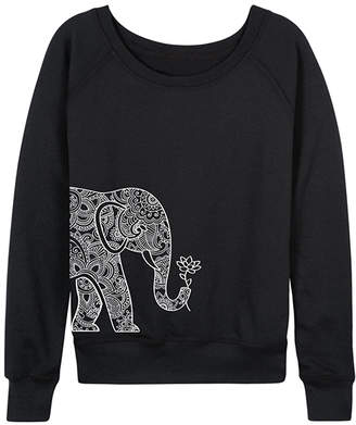 Instant Message Women's Women's Sweatshirts and Hoodies BLACK - Black Elephant Holding Lotus Slouchy Pullover - Women & Plus