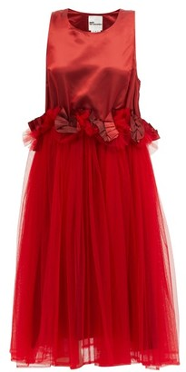 Noir Kei Ninomiya Ruffled Mesh-trimmed Midi Dress - Red