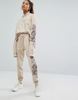 Criminal Damage Baggy Sweatpants With Leg Embroidery Co-Ord