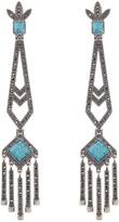 Valentino Antique Bezel Set Turquoise Embellished Geo Fringe Drop Earrings