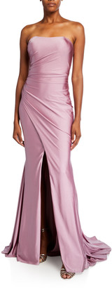 Faviana Shirred Bustier Stretch Satin Gown with Slit