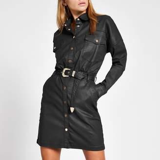 River Island Womens Black coated belted mini shirt dress