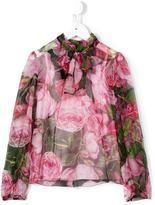 Dolce & Gabbana rose print pussy bow blouse - kids - Silk/Viscose - 2 yrs