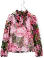 Dolce & Gabbana rose print pussy bow blouse