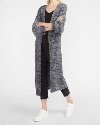 Express Marled Faux Fur Duster Sweater