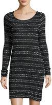 Three Dots Cara Tie-Back Metallic-Striped Sweater Dress, Black