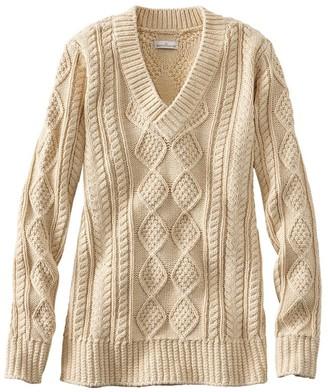 L.L. Bean Women's Signature Cotton Fisherman Sweater, V-Neck Tunic