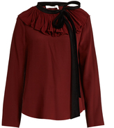 Chloé Velvet-tie ruffle-neck crepon blouse