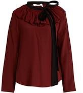 Chloé Velvet-tie ruffled-neck crepon blouse