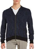 Calvin Klein Merino Wool Blended Birdseye Camo Baseball Zip Sweater