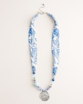 Chico's Chicos Blue and White Printed Scarf Pendant Necklace