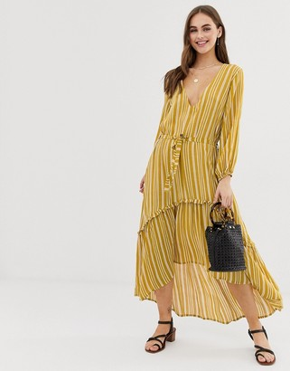 Faithfull The Brand Faithfull matilda stripe midi dress-Yellow