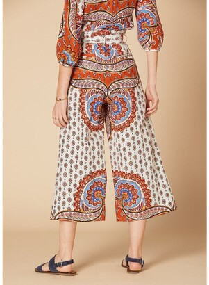 Derhy Cotton Mix Printed Trousers with High Tie Waist