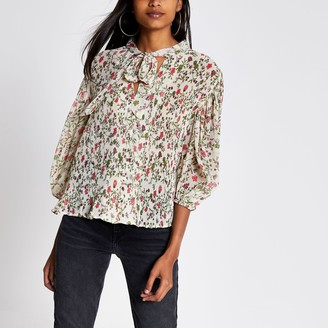 River Island Womens Pink floral pleated tie V neck blouse