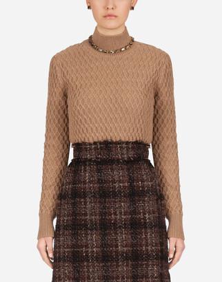 Dolce & Gabbana High-Neck Sweater In Camel With Rhombus Stitch