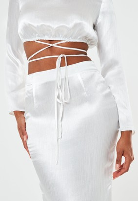 Missguided White Satin Wrap Belt Cut Out Maxi Wedding Dress
