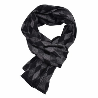 Kangqifen Men's Diamond Pattern Scarf Artificial Cotton Knitted Scarf 71 x 12 inches(Black)