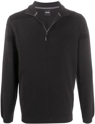 HUGO BOSS Rib-Knit Zipped Sweater