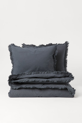 H&M Flounced Duvet Cover Set - Gray