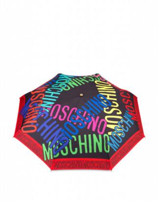 Moschino Multi Logo Openclose Umbrella Woman Black Size Single Size