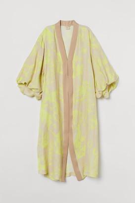 H&M Puff-sleeved Kaftan - Yellow