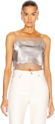 SABLYN Rose Lace Crop Tank Top in Pebble | FWRD