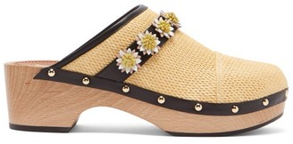Fabrizio Viti - Jean Floral Applique Leather Clogs - Beige