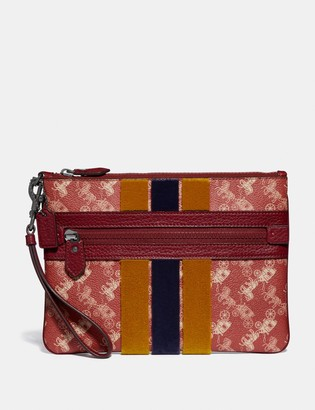 Coach Large Front Zip Wristlet With Horse And Carriage Print And Varsity Stripe